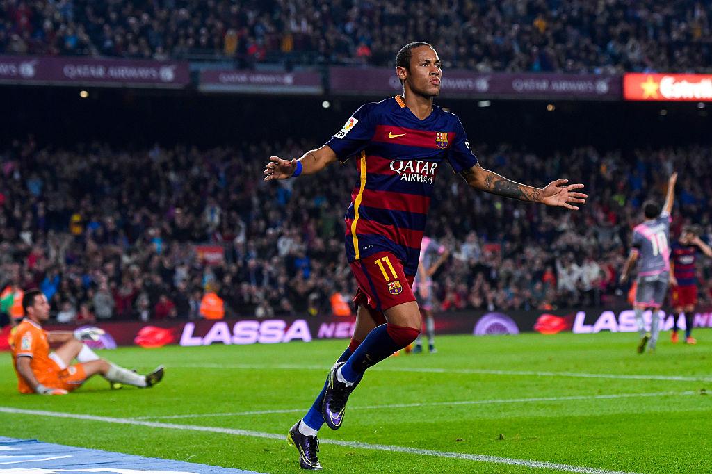 Neymar of FC Barcelona celebrates after scoring a goal.