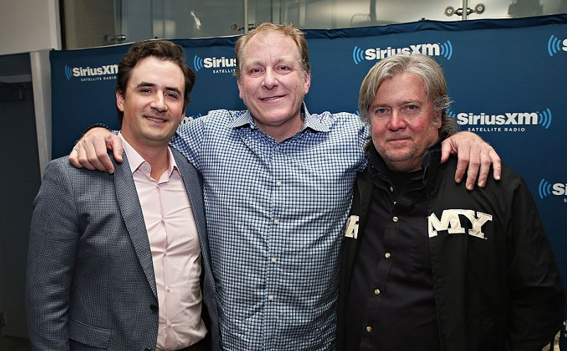 Former Red Sox pitcher Curt Schilling with ousted White House adviser Steve Bannon and a third unidentified person