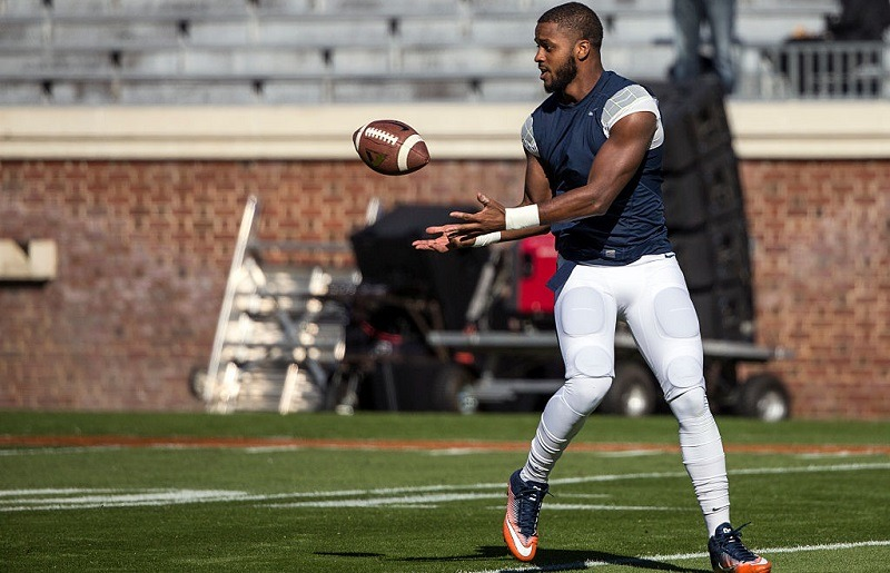 A UVA football player practices in 2016.