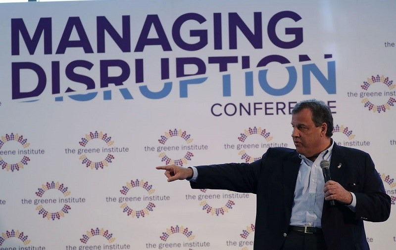 New Jersey Governor Chris Christie speaking to a crowd in Florida.