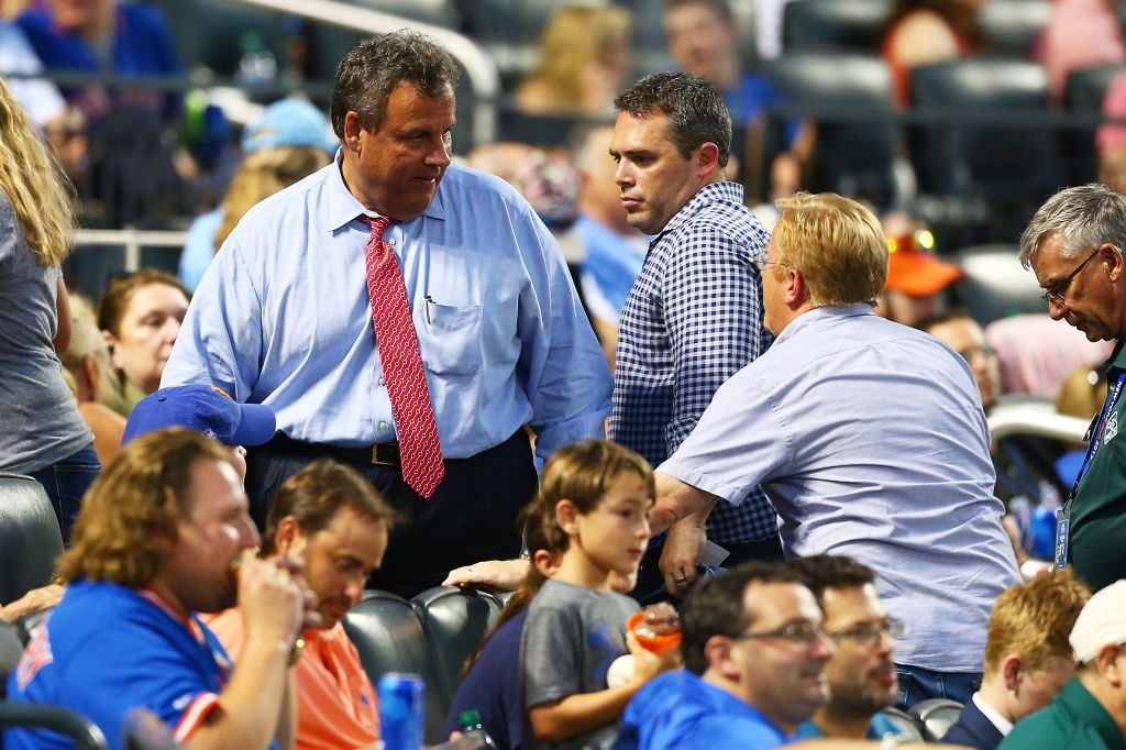 Governor of New Jersey Chris Christie attends a game between the Mets and Cardinals.