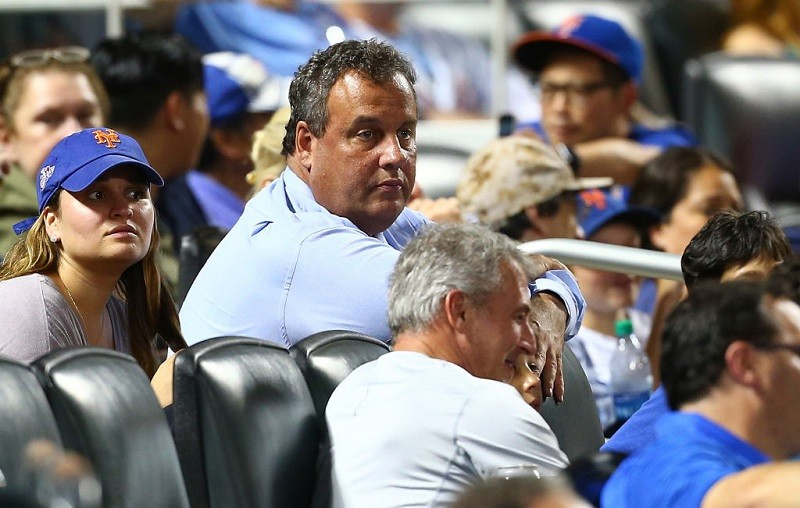 New Jersey Governor Chris Christie watches the action at Citi Field.