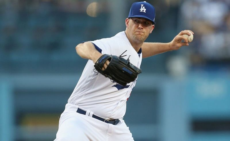 Dodgers starter Alex Wood winds up to pitch.