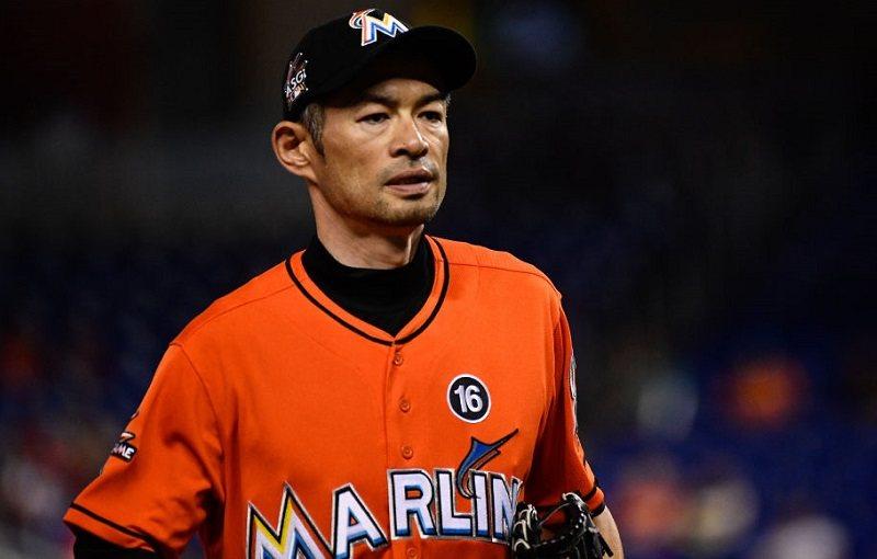 Ichiro Suzuki #51 of the Miami Marlins runs to the dugout.