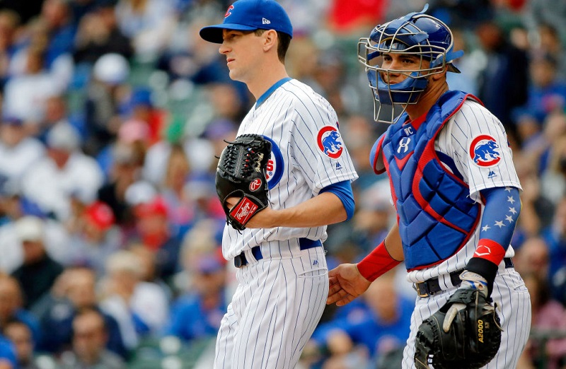 Kyle Hendricks and Willson Contreras at Wrigley Field on August 4, 2017 in Chicago, Illinois.