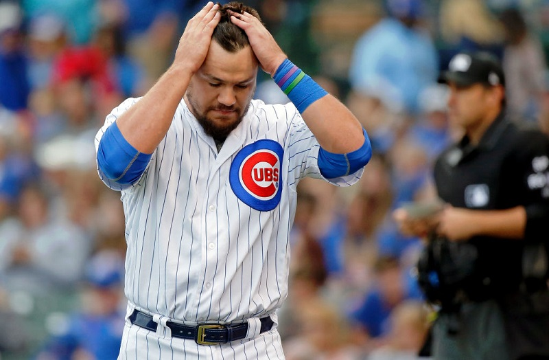 Cubs player Kyle Schwarber reacts after striking out on August 4, 2017.