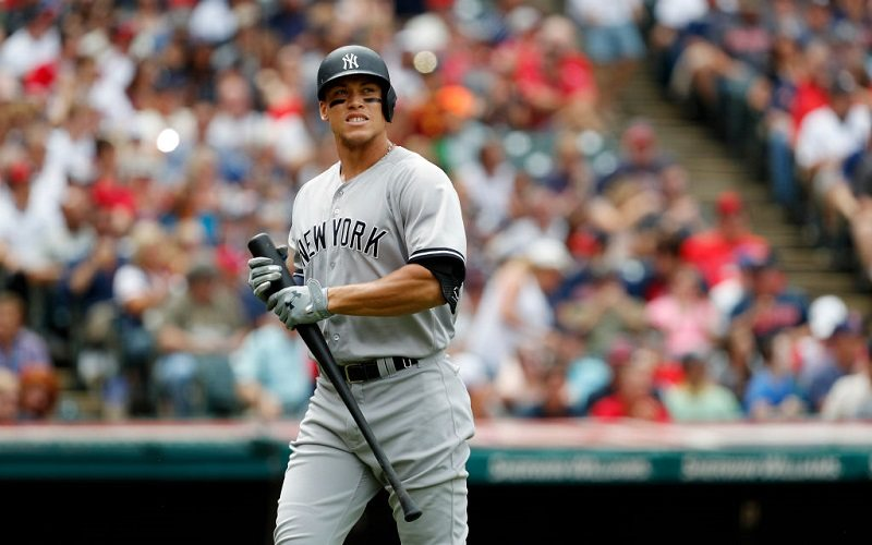 Aaron Judge #99 of the New York Yankees bats against the Cleveland Indians