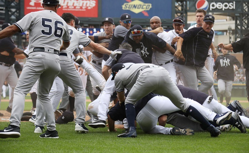 DETROIT, MI - AUGUST 24: The New York Yankees and Detroit Tigers get into a bench clearing fight in the sixth inning at Comerica Park on August 24, 2017 in Detroit, Michigan.