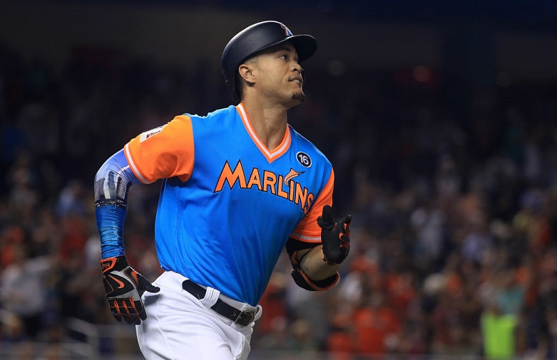 Marlins star Giancarlo Stanton during a game at Marlins Park on August 25, 2017 in Miami, Florida.