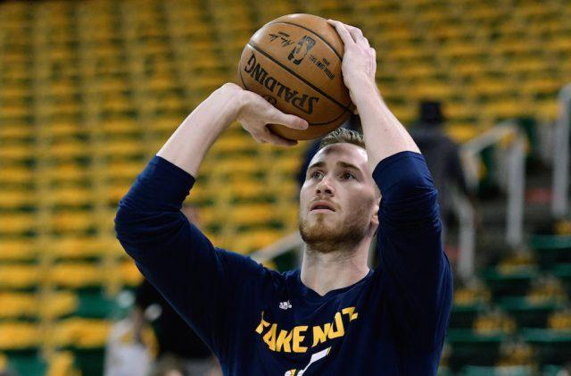 Gordon Hayward warms up before a game.