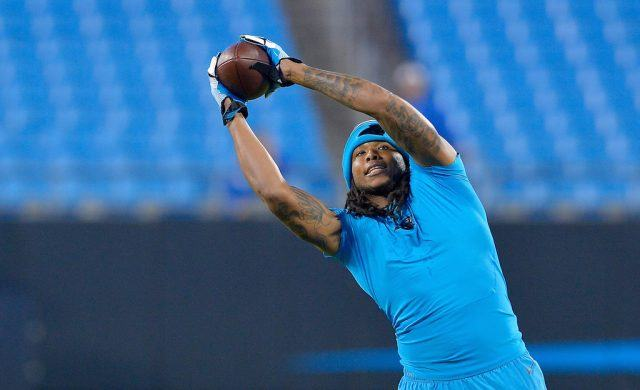 Kelvin Benjamin catches a pass during warm ups.
