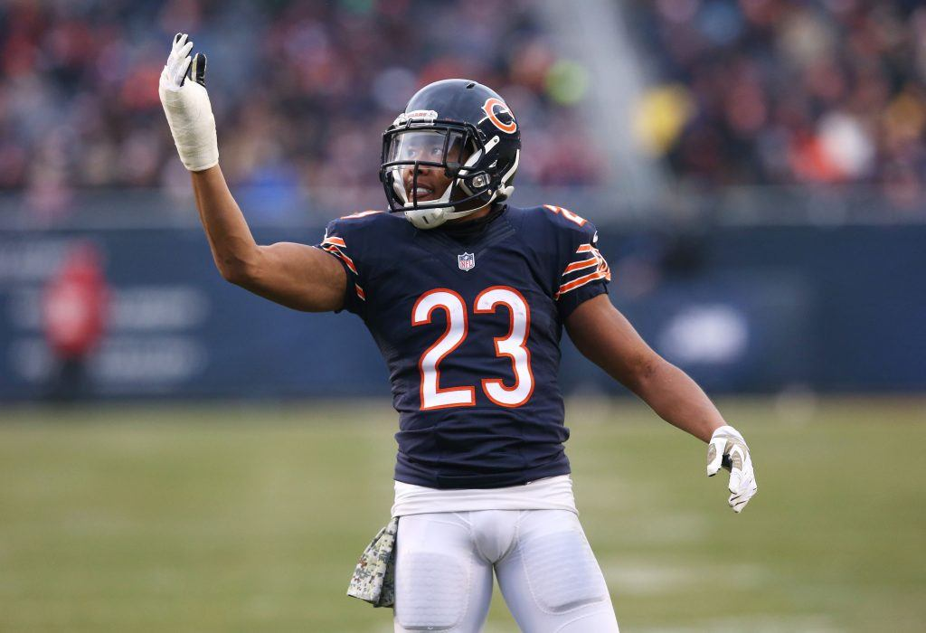 Kyle Fuller #23 of the Chicago Bears fires up the fans.