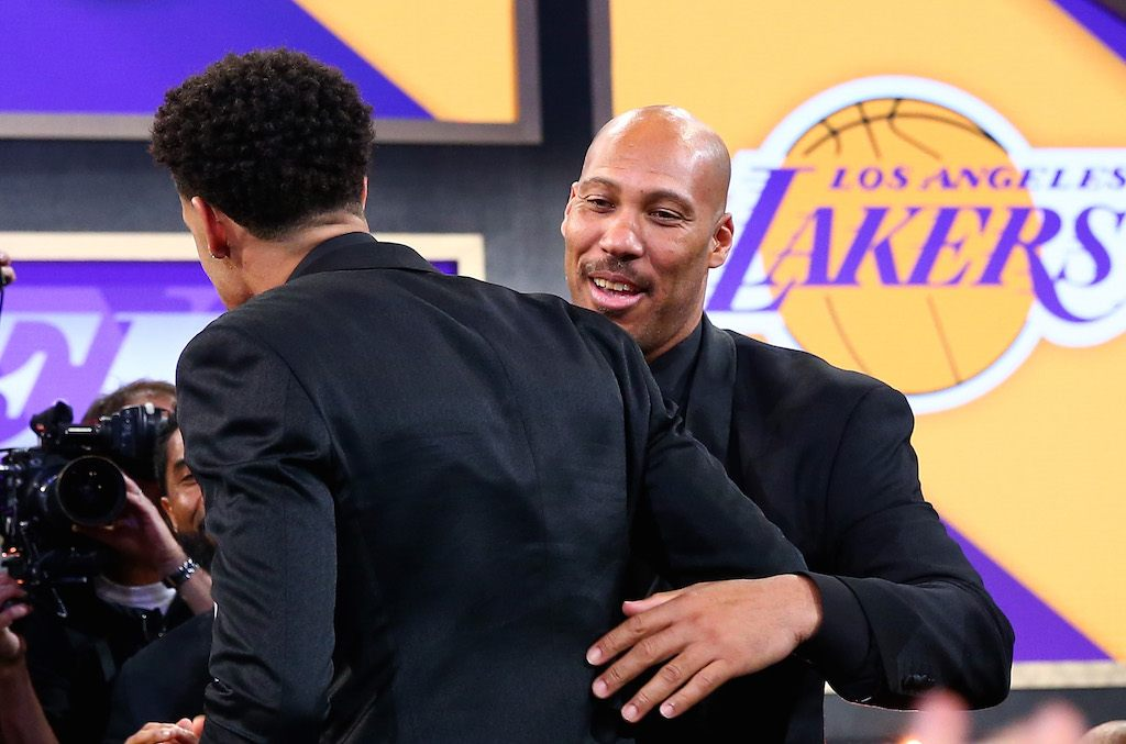 LaVar Ball hugs son, Lonzo, at the NBA Draft.