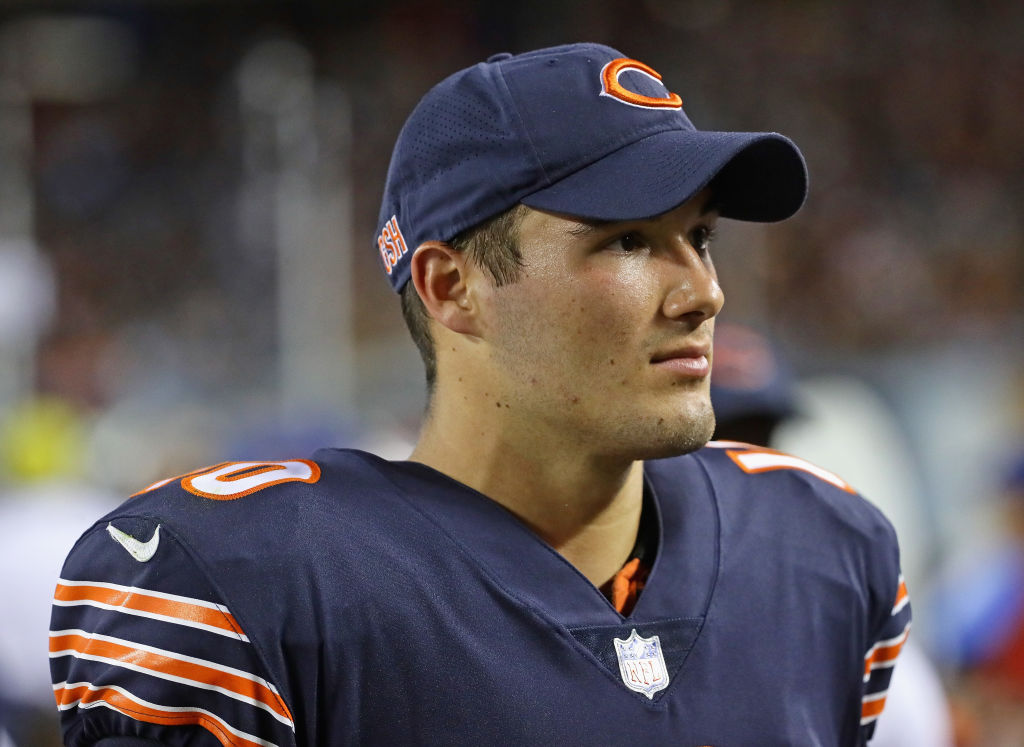Mitchell Trubisky of the Chicago Bears watches from the sideline during a preseason game against the Denver Broncos.