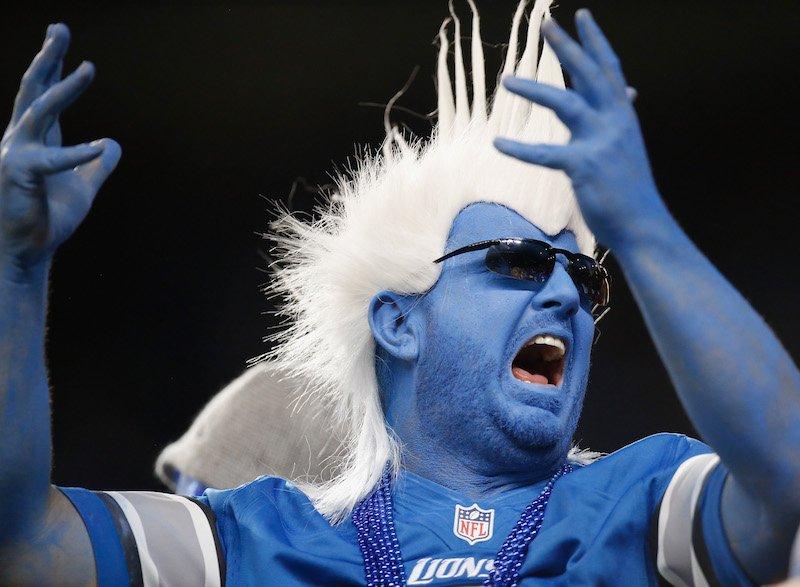Detroit Lions fan reacts after a touchdown.