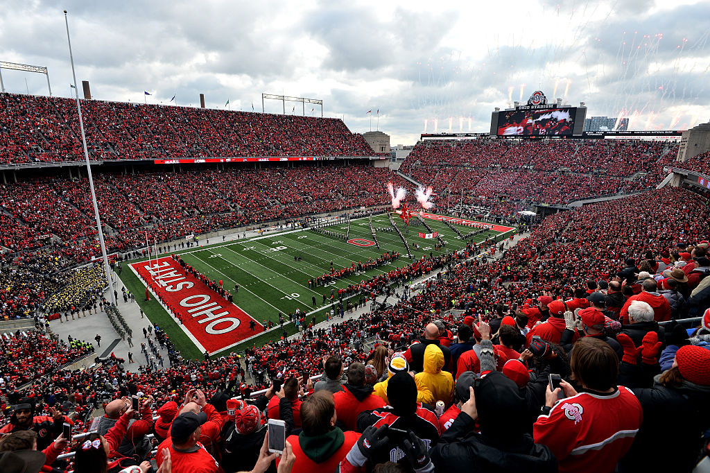 Fans wait at Ohio Stadium for the game between the Michigan Wolverines and Ohio State Buckeyes.