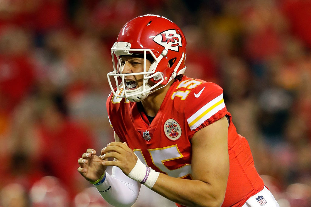 Quarterback Patrick Mahomes #15 of the Kansas City Chiefs in action