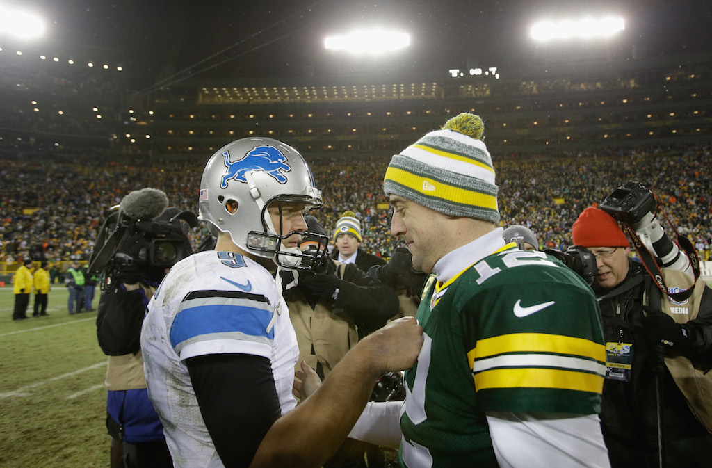 Matthew Stafford and Aaron Rodgers shake hands after the game.