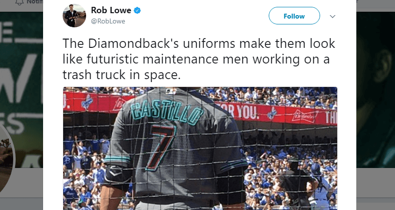Tweet from Rob Lowe mocking the new D-Backs uniforms during their first trip to LA.