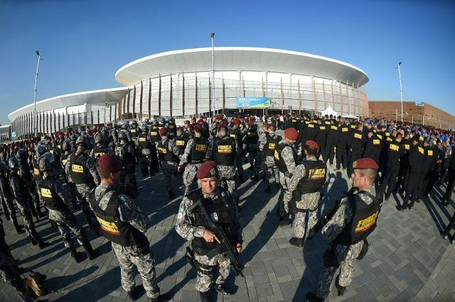 Troops fall in at the Olympic Village in Rio de Janeiro, Brazil