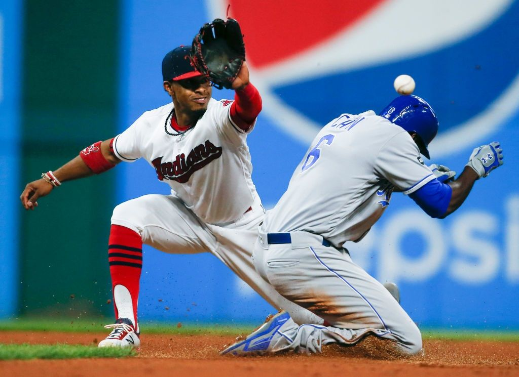 Royals player Lorenzo Cain is safe at second base.
