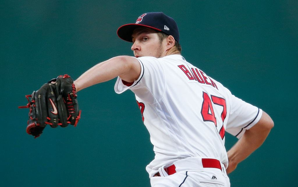 Indians' Trevor Bauer pitches against the Royals.