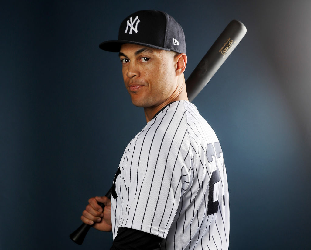 Giancarlo Stanton of the New York Yankees poses for a portrait during the New York Yankees photo day.