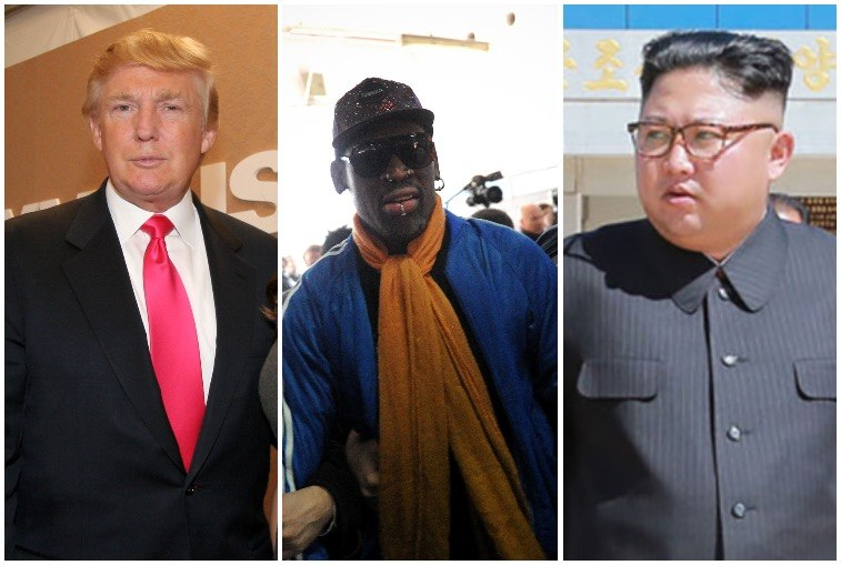 This composite image shows Donald Trump, Dennis Rodman, and Kim Jong Un