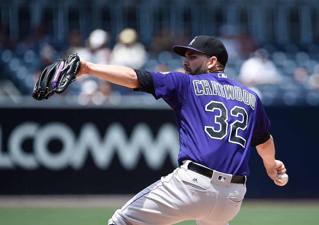 Tyler Chatwood of the Colorado Rockies pitches during the first inning