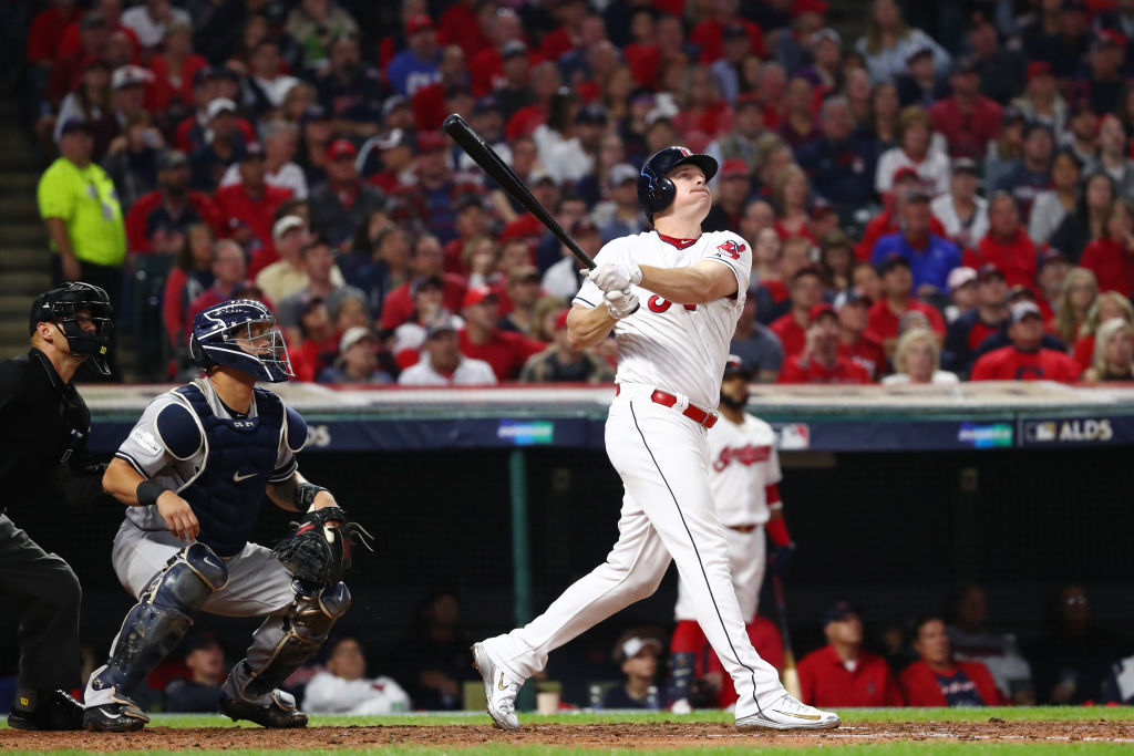 Jay Bruce of the Cleveland Indians hits a two-run home run during the fourth inning against the New York Yankees.