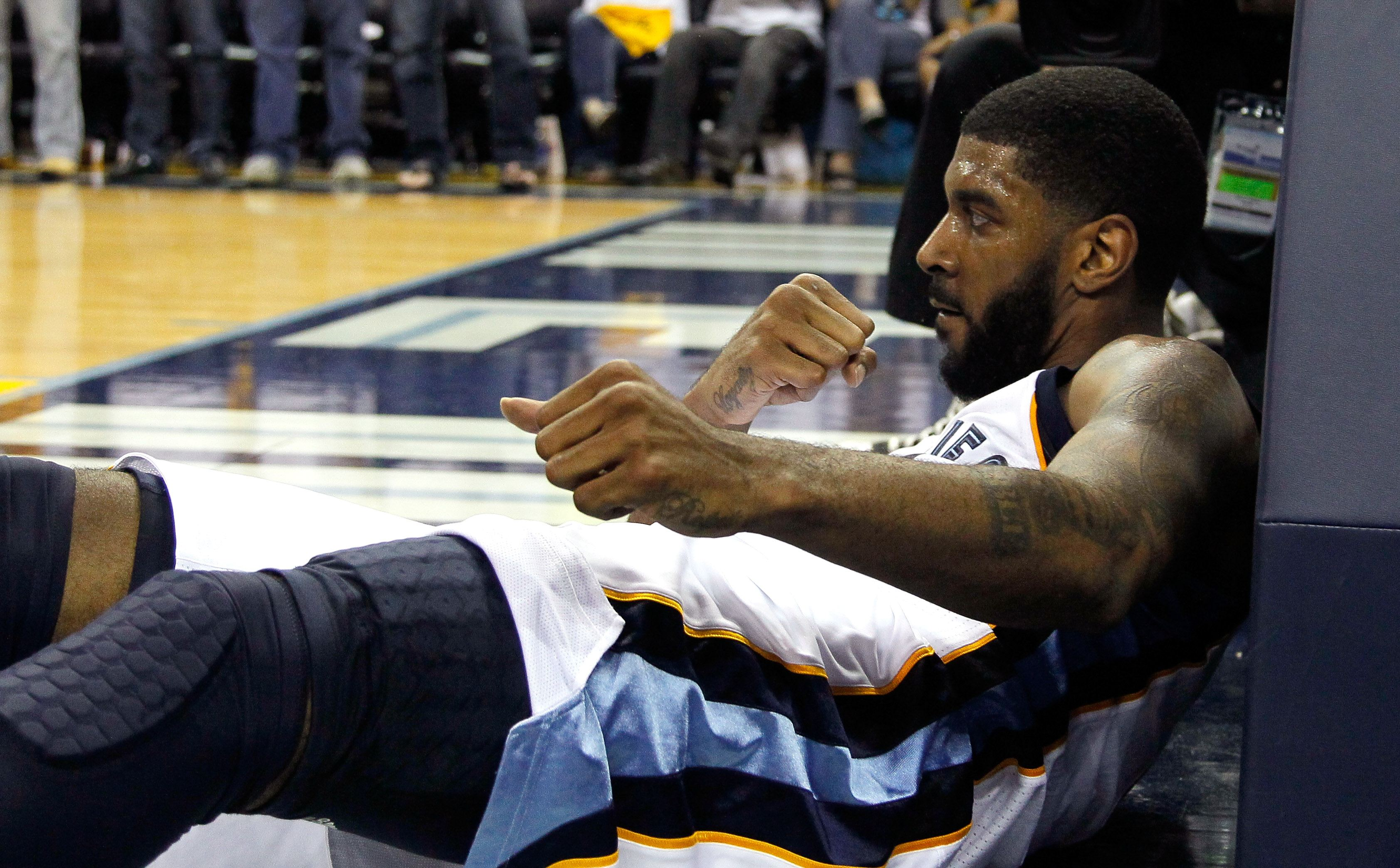 O.J. Mayo took a major hit from teammate Tony Allen.
