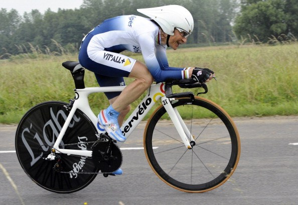 Longo competes in the ladies' individual time-trial during the France's cycling championships in 2011