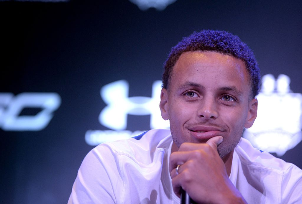 stephen curry during a press conference