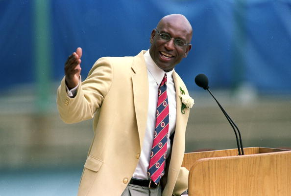 Eric Dickerson talks to the press during his induction into the Pro Football Hall of Fame in Canton, Ohio.