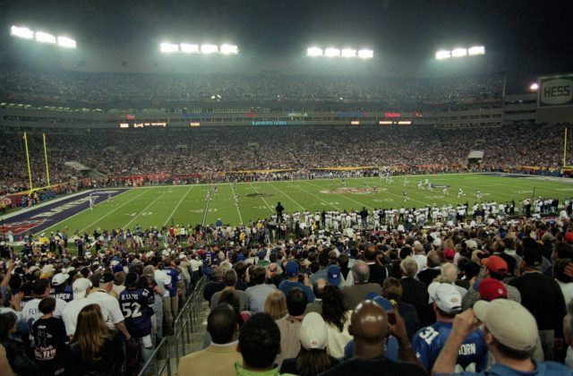 A view of the kick off during the Super Bowl XXXV Game between the New York Giants and the Baltimore Ravens at the Raymond James Stadium in Tampa, Florida.