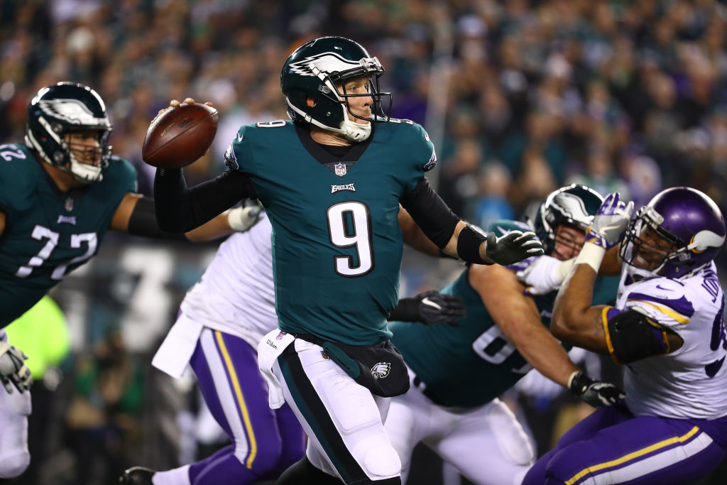 Nick Foles of the Philadelphia Eagles in action against the Minnesota Vikings during their NFC Championship game