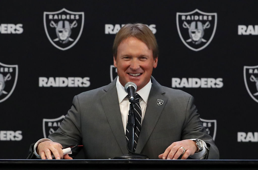 Oakland Raiders new head coach Jon Gruden speaks during a news conference at Oakland Raiders headquarters
