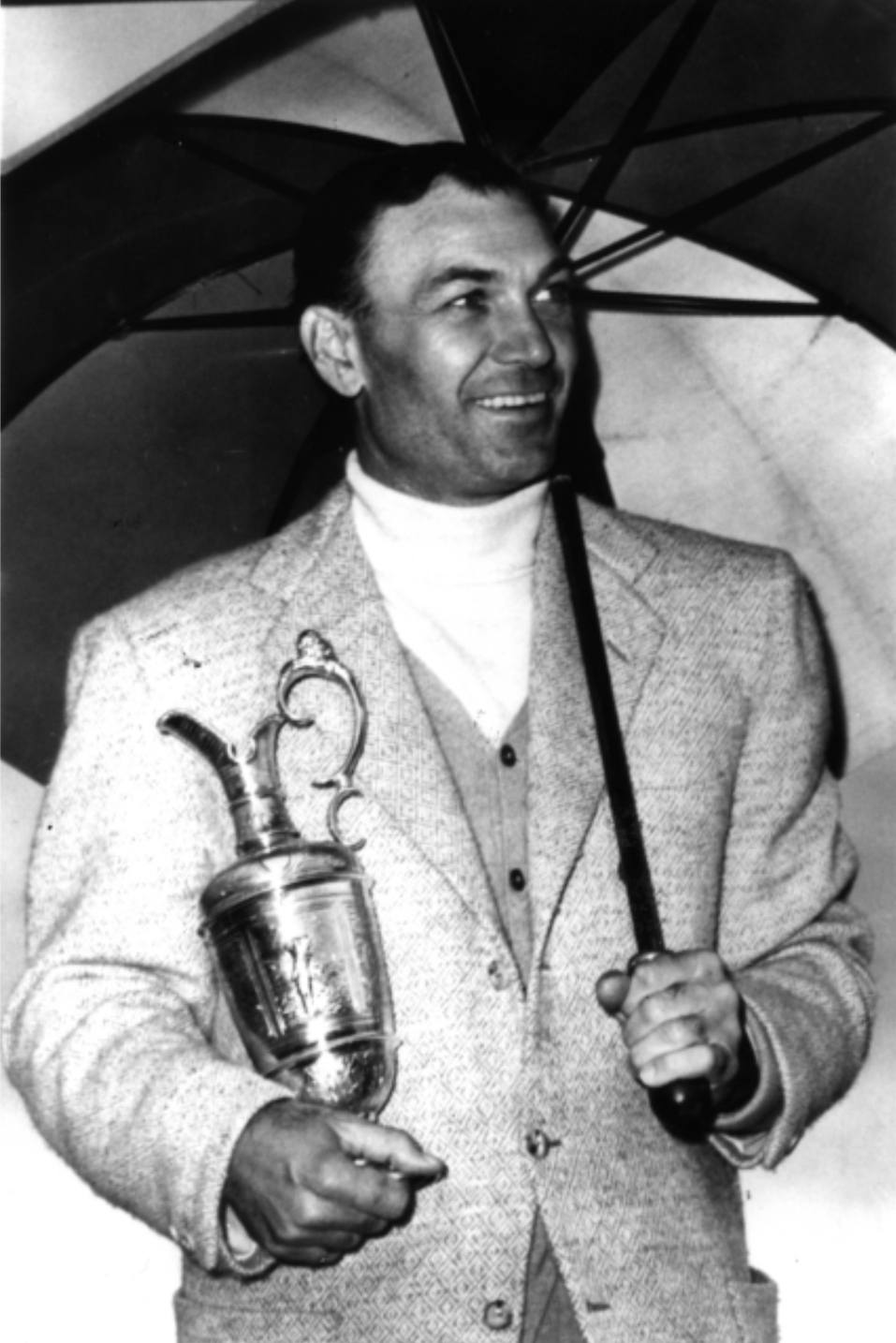 Ben Hogan of the USA with the Claret Jug after victory in the British Open