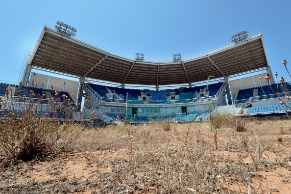 General view of the Olympic Softball stadium at the Helliniko Olympic complex in Athens