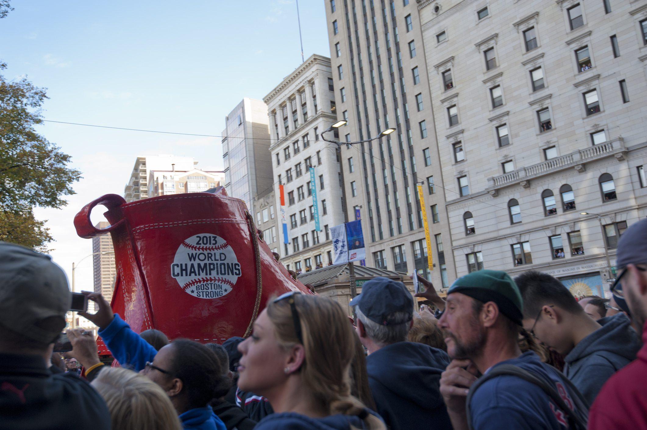 red sox fans at a parade