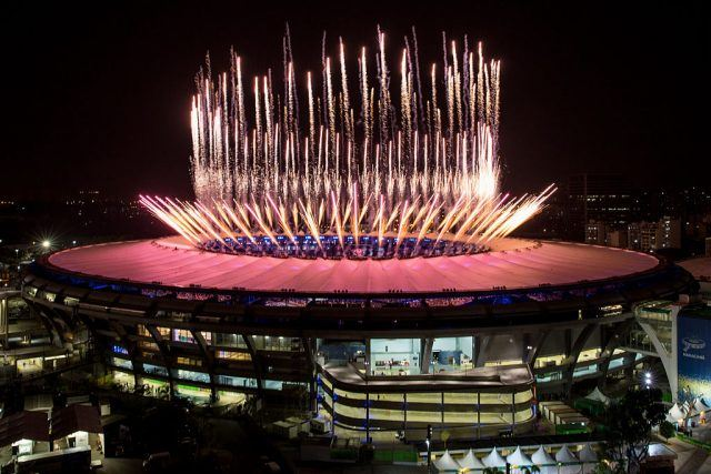 Fireworks explode over the Maracana Stadium during the opening ceremony of the Rio 2016 Olympic Games.