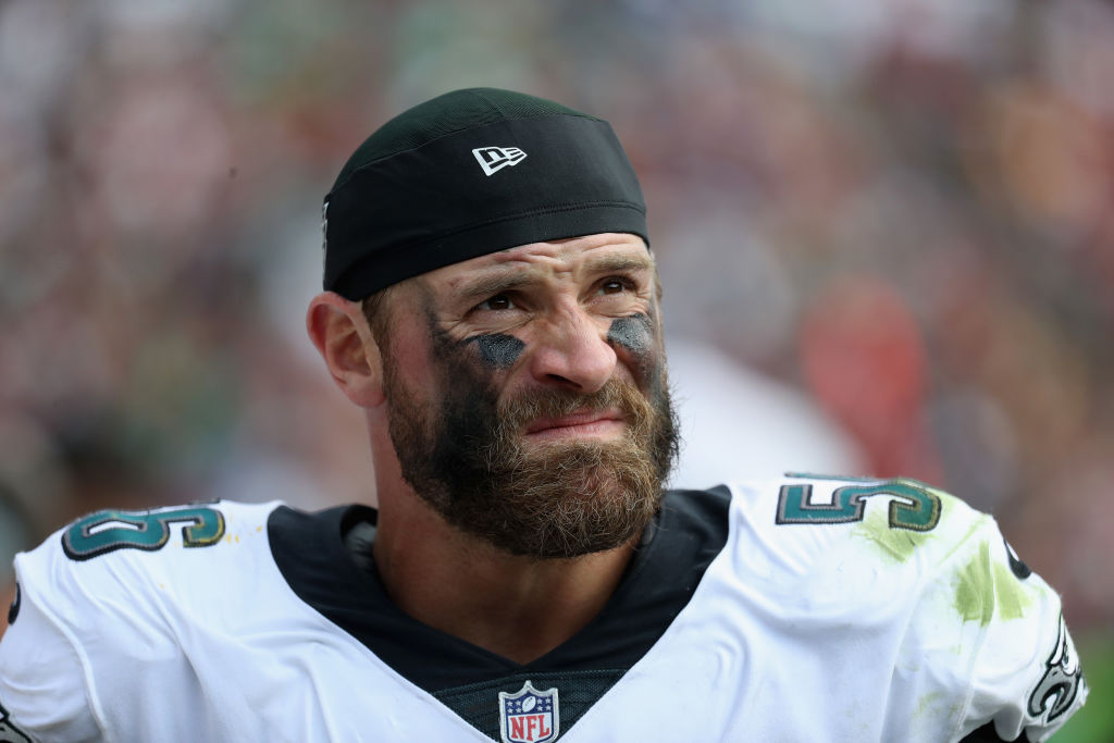 Defensive end Chris Long of the Philadelphia Eagles looks on against the Washington Redskins.