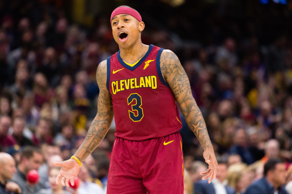 Isaiah Thomas of the Cleveland Cavaliers yells to a teammate.