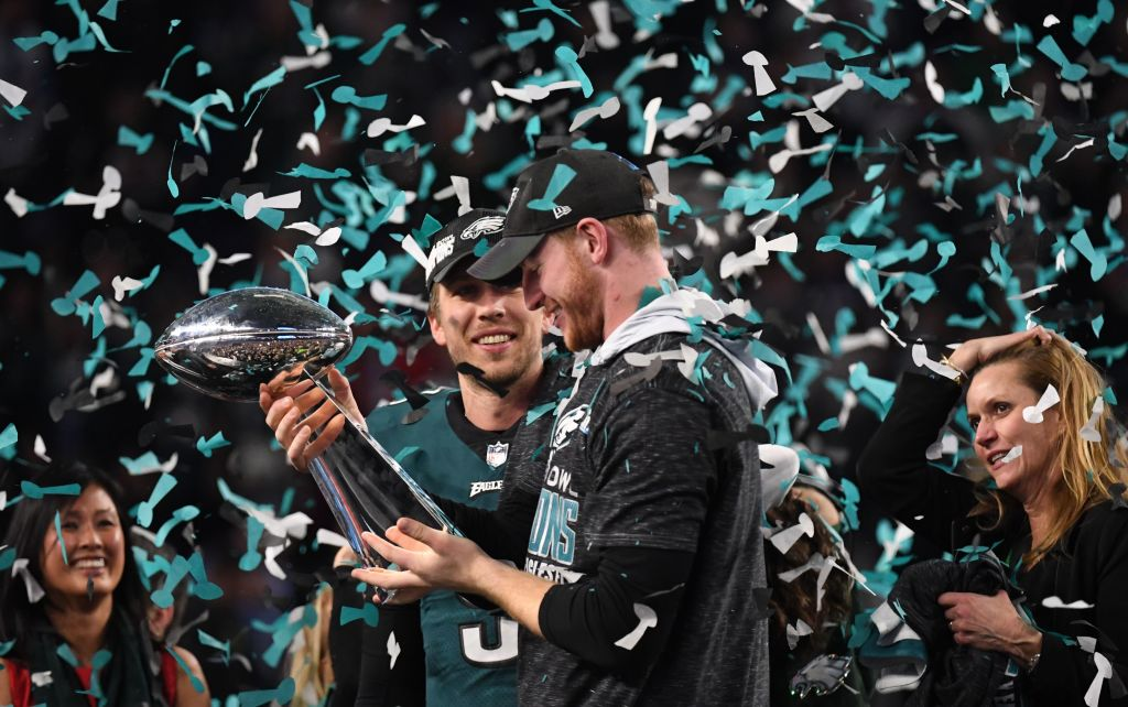 nick foles and carson wentz celebrate