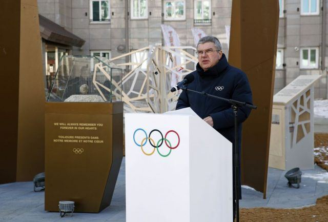 International Olympic Committee President Thomas Bach delivers remarks as he dedicates a mourning space inside the Pyeongchang Olympic Village prior to the 2018 Winter Olympics February 5, 2018 in Pyeongchang-gun, South Korea.