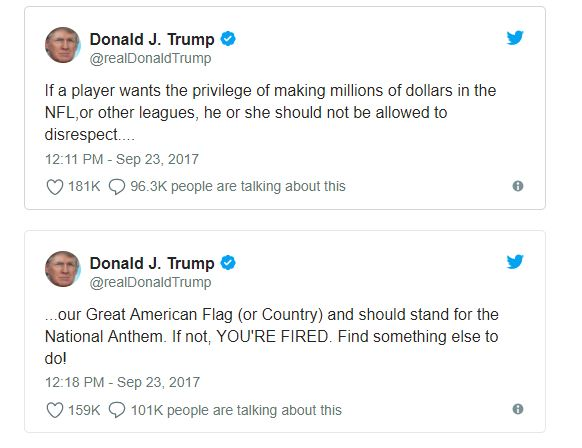 Donald Trump tweets about the NFL