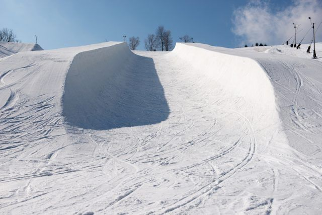An Olympic-sized empty half pipe.