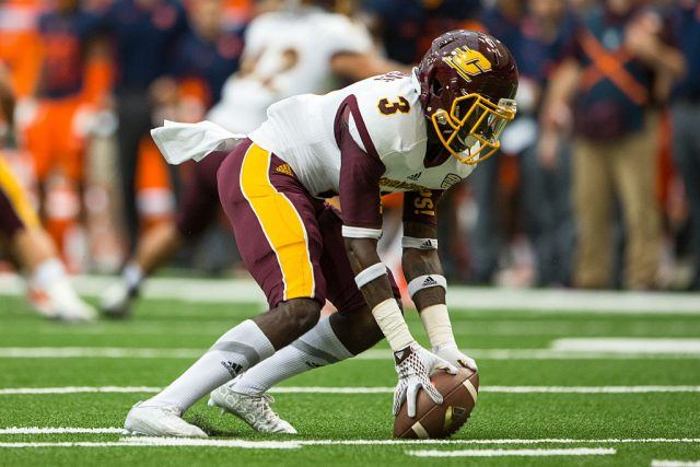Emmitt Thomas #3 of the Central Michigan Chippewas recovers a bobbled kickoff return