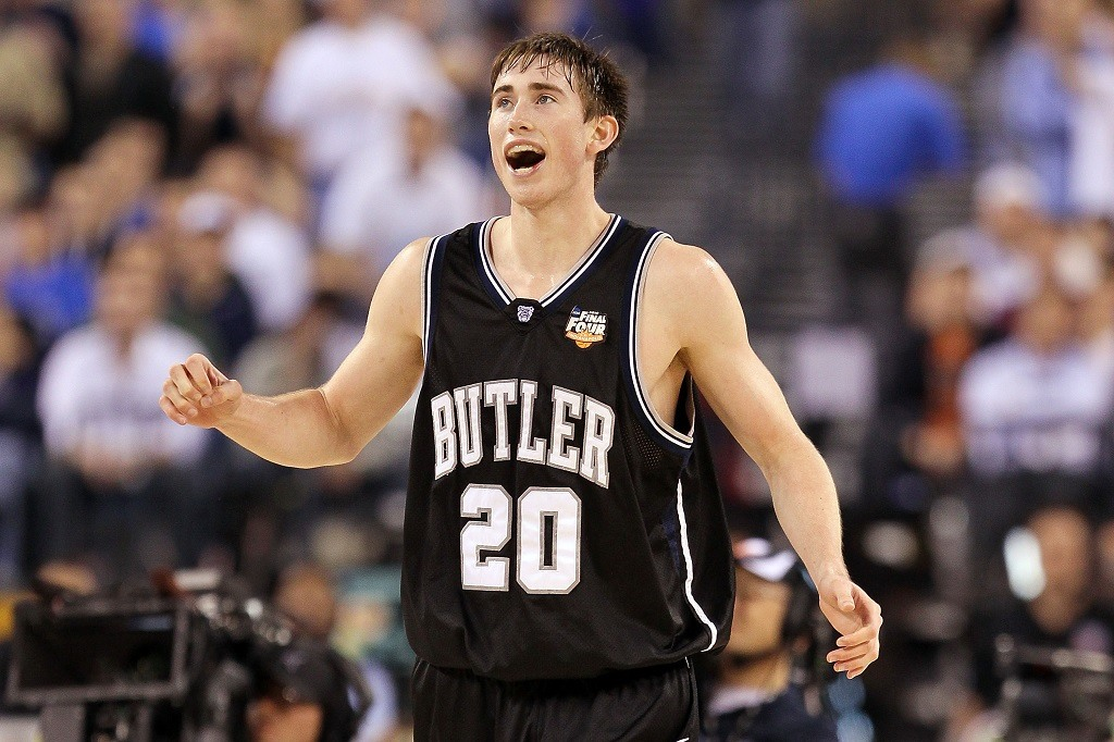 Gordon Hayward of the Butler Bulldogs reacts after beating the Michigan State Spartans during the National Semifinal game of the 2010 NCAA Basketball Championship.