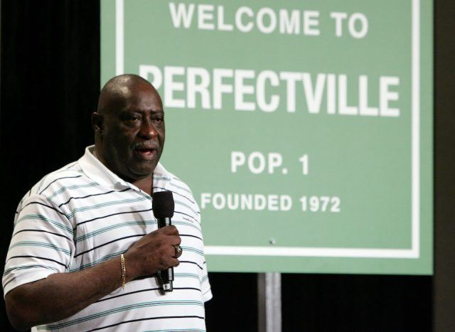 Former Miami Dolphin Larry Little speaks during a press conference
